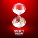 圣诞快乐和新年好与滴漏 免版税库存图片