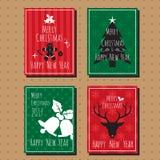 圣诞快乐和新年好卡片汇集集合 免版税库存图片