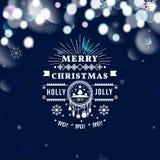 圣诞快乐和新年好卡片 圣诞节印刷消息 传染媒介蓝色bokeh背景,欢乐defocused 皇族释放例证