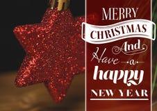 圣诞快乐和新年好消息的数字式综合图象反对圣诞节的担任主角装饰 免版税库存照片