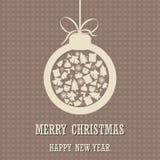 圣诞快乐和新年好背景与圣诞节球 图库摄影