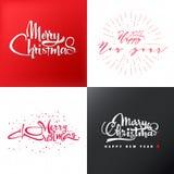 圣诞快乐和新年好2017年字法,书法样式权威,其中任一的标签使用 库存图片