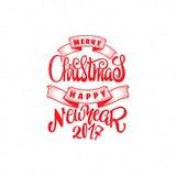 圣诞快乐和新年好2017年手字法文本 您的设计的手工制造传染媒介书法 库存图片