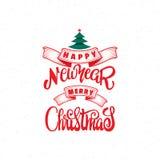 圣诞快乐和新年好2017年手字法文本 您的设计的手工制造传染媒介书法 库存照片