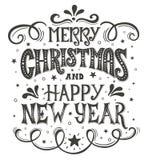 圣诞快乐和新年好 概念性手写的词组T恤杉书法设计,贺卡,海报或 向量例证