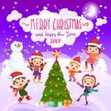 圣诞快乐和新年好 2017年 驱动乐趣爬犁冬天 免版税库存图片