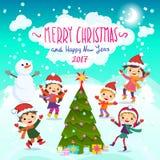 圣诞快乐和新年好 2017年 驱动乐趣爬犁冬天 免版税库存照片