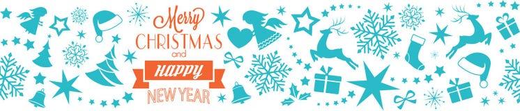 圣诞快乐和新年快乐印刷术边界,无缝 库存照片