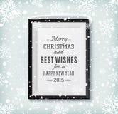 圣诞快乐和新年快乐在a的文本标签 免版税库存照片