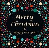 圣诞快乐和新年快乐文本 图库摄影