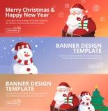 圣诞快乐和新年快乐网横幅设计模板 免版税库存图片