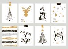 圣诞快乐和新年快乐葡萄酒礼物与书法的卡片 免版税库存图片