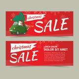 圣诞快乐和新年快乐销售卡片设计 库存图片