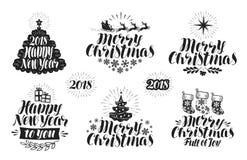 圣诞快乐和新年快乐,标号组 Xmas、假日象或者商标 在上写字,印刷设计传染媒介 向量例证