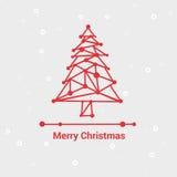 圣诞快乐和新年快乐,线最低纲领派样式贺卡,美好的典雅的设计,传染媒介例证 免版税库存照片