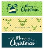 圣诞快乐和新年快乐贺卡印刷术与字法的飞行物模板 库存照片