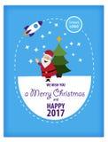 圣诞快乐和新年快乐2016年贺卡,在平的样式 免版税库存照片