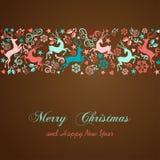 圣诞快乐和新年快乐贺卡 免版税图库摄影