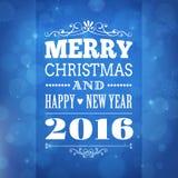 圣诞快乐和新年快乐2016年贺卡 库存照片