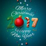 圣诞快乐和新年快乐2017年贺卡 免版税库存照片