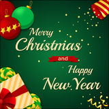 圣诞快乐和新年快乐2017年贺卡 库存照片