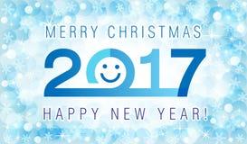 圣诞快乐和新年快乐2017年微笑的花牌 免版税库存图片