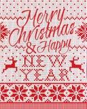 圣诞快乐和无缝新年好的样式 免版税库存图片