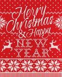 圣诞快乐和无缝新年好的样式 库存图片