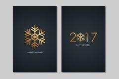 圣诞快乐和2017年新年快乐贺卡与金黄色素和黑背景 库存图片