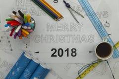 圣诞快乐图纸2018年 库存图片