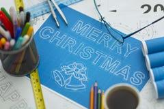 圣诞快乐图纸2018年 免版税库存照片