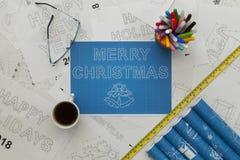 圣诞快乐图纸 库存照片