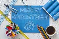 圣诞快乐图纸 免版税图库摄影
