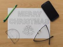 圣诞快乐图纸 免版税库存图片