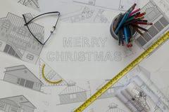 圣诞快乐图纸 库存图片
