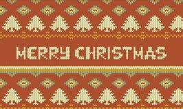 圣诞快乐图表例证设计,被编织的圣诞节例证 免版税库存图片
