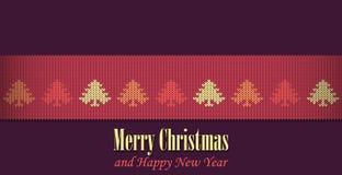 圣诞快乐图表例证设计,被编织的圣诞节例证 库存照片