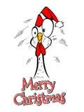 圣诞快乐圣诞快乐年鸡雄鸡可笑滑稽 免版税库存图片