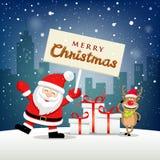 圣诞快乐圣诞老人项目举行标签和驯鹿微笑在雪花 库存例证
