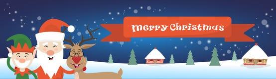 圣诞快乐圣诞老人驯鹿在冬天雪议院村庄海报贺卡的矮子字符 库存图片