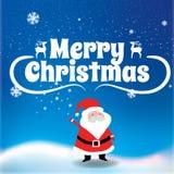 圣诞快乐在圣诞节雪的圣诞老人项目和圣诞树 免版税库存照片