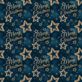 圣诞快乐在夜担任主角无缝的样式2 免版税库存照片