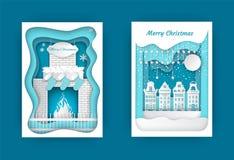 圣诞快乐在家在壁炉传染媒介附近 皇族释放例证