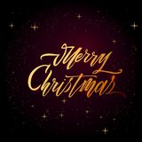 圣诞快乐在白色背景的文本传染媒介 邀请的字法、婚礼和贺卡、印刷品和海报 免版税库存照片