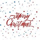 圣诞快乐在白色背景的文本传染媒介 邀请的字法、婚礼和贺卡、印刷品和海报 免版税库存图片
