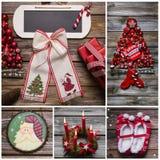 圣诞快乐在红色和白色颜色的贺卡在木头 免版税库存照片