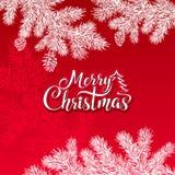 圣诞快乐在红色背景的传染媒介文本与树枝和锥体一个白色剪影  免版税库存照片