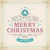 圣诞快乐在纸背景的葡萄酒装饰品 免版税库存照片