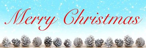 圣诞快乐在蓝色背景的丝毫pinecones与雪花 免版税库存图片