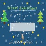 圣诞快乐在蓝色背景的贺卡与冬天元素 库存例证